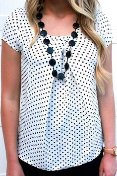Perfect Polka Dot Pleated Top