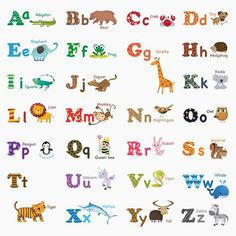Decowall Alphabet ABC and Animals Kids Wall Stickers Wall Decals Peel and Stick Removable Wall Stickers for Kids Nursery Bedroom Living Room (Medium)