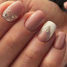 13 more elegant nail art designs for prom 2017 unhas decoradas delicadas, unhas delicadas, Glitter Gel Nails, Diy Nails, Cute Nails, Acrylic Nails, Sparkly Nails, Classy Nail Art, Glitter Art, Shellac Nails, Manicure Ideas