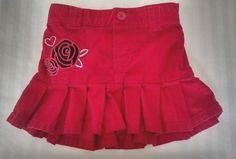 Healthtex Baby Girl Skirt 18M Red Corduroy Pleated Rose Heart Applique #Healthex #DressyEverydayHolidayValentinesDayChristmas