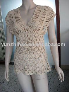 crochet sweaters | dama de la moda de la mano de ganchillo suéter para el verano ...