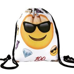 #drawstringbag #drawstring #bags #bag #backpack #back2school #backtoschool #fashion #fun #instamood #instalovers  http://www.luulla.com/product/637766/back-to-school-girl-teenage-emoji-sunglasses-smile-white-design-drawstring-bag-backpack