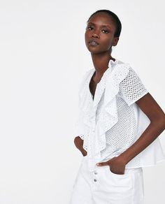 Zara Blouse With Double Ruffle Zara Trends, Double Ruffle, African Beauty, Summer Trends, Who What Wear, Street Style, Blouse, Lace, Womens Fashion