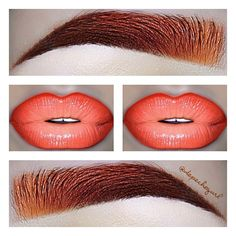 """Burnt Orange brows & Orange Lips. I love burnt orange brows! These are the brows I'd wear when I used to have red hair and it'd fade and turn copper orange. Lips - MAC """"Sounds Like Noise"""" Lipstick (LE), OCC """"Cha Cha"""" Lip Tar, and NYX """"Orange"""" Lipliner. Brows - Anastasia Brow Duo in """"Caramel,"""" NYX Brown & Dark Brown Gel Liners, Hot Topic Neon Pastel Orange Eyeshadow, and MAC """"Brown Script"""" eyeshadow. #WeirdCollage #WeirdLikeMe"""