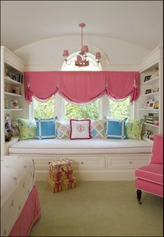 love the mix of colors and pattern for a preppy-chic girls room!