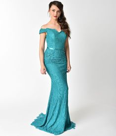 d3d54d9ac40bd Aqua Green Off Shoulder Embellished Lace Long Dress. Unique Vintage