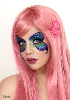Butterfly by on DeviantArt Face Paint Makeup, Diy Makeup, Makeup Art, Makeup Tips, Makeup Ideas, Butterfly Makeup, Butterfly Eyes, Ethereal Makeup, Creative Makeup Looks