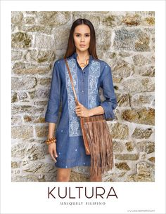 Embroidered chambray dress from Kultura Philippines Dress, Philippines Fashion, Classic Outfits, Casual Outfits, Modern Filipiniana Dress, Casual Cocktail Dress, Filipino Fashion, Batik Fashion, Chambray Dress