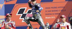 """Jorge Lorenzo (Yamaha YZR M 1) sumó en el Gran Premio de San Marino disputado en el circuito """"Marco Simoncelli"""" de Misano Adriático su sexta victoria de la temporada y con ella y unido a la caída de Dani Pedrosa (Honda RC 213 V)"""