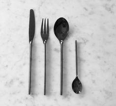 black stainless steel cutlery set