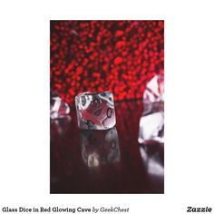 Glass Dice in Red Glowing Cave Canvas Print