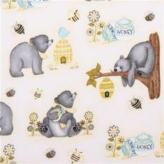 white honey bee bear fabric from the USA Honey Bee Mine