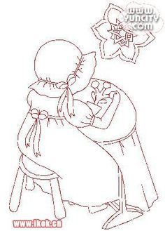 girl doing embroidery or hand-quilting - patch redwork embroidery pattern or coloring page