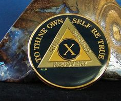 Blue Silver Gold Tri Plate Alcoholics Anonymous 10 Year AA Medallion Coin Used | eBay