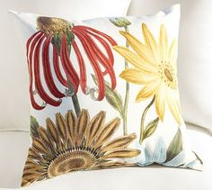 Daisy Botanical Outdoor Pillows #potterybarn    A splash of color for summer for my cabin/cottage sofa