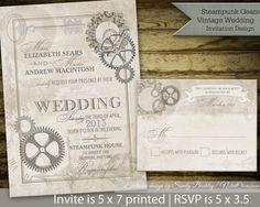 Steampunk Wedding Invitations Small Design 19 On Invitation Design Ideas Retro Wedding Invitations, Diy Invitations, Wedding Invitation Design, Retro Bridal Showers, Wedding Wording, Steampunk Wedding, Steampunk Theme, Metal Gear, Wedding Ideas