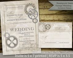 Steampunk Vintage Retro Wedding Invitations   Hot Air Balloon and Metal Gears Vintage Victorian Banners and Elements