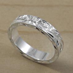 Hawaiian Hand Engraved Silver Flat Ring