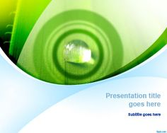 Green Nature PowerPoint Template with Water Drop and Ripple Effect