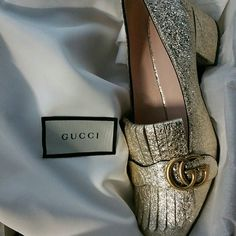 Gucci Marmont Platino Loafers Rare and hard to find/sold out Gucci Marmont Platino (gold) Loafers with 55mm heel. Authentic. Bought in Europe. Not available in America again until October.  NOT FOR SALE at this time, just sharing what's in my closet. Gucci Shoes Flats & Loafers