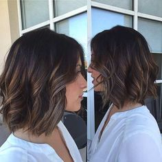 Brunette Bob Hairstyle + Light Balayage Highlights