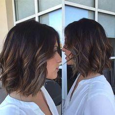 Brunette Bob Hairstyle + Light Balayage Highlights