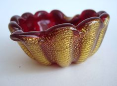 Vintage  Murano Barovier Cordonato Oro Ruby  Heart Bowl
