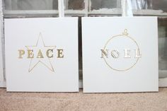 Christmas Decorations canvas Peace and Noel by SouthernIsleDesigns, $15.00.         Use evil styrofoam and cut out peacey wordishes.