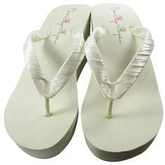 Ivory Wedge or White Wedge Bridal Satin Flip by BridalFlipFlops