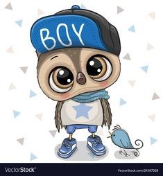 Cute Cartoon Owl boy on a white background. Cute Cartoon Owl boy with a blue cap on a white background vector illustration Cartoon Cartoon, Cute Cartoon Boy, Cartoon Kunst, Baby Owls, Baby Animals, Cute Animals, Clipart Baby, Baby Shower Greetings, Cartoon Mignon