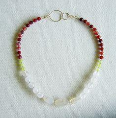 Collar Cuarzo rosa, Jade limón, Ágata