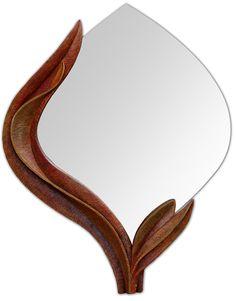 Zrcadlo Plamen 2012, š: 50 x 70 cm, dřevo lipové, namořené, olejové barvy, vosková patina. Možnost vyrobit variantu ve tvarech i barvách.