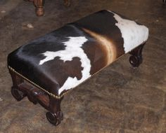 A Fine Collection of Rustic, Southwest, Hacienda, One of a Kind Furniture and Accessories from Rios Furniture in Fort Worth Stockyards, TX Cowhide Bench, Cowhide Decor, Rio Furniture, Cowhide Furniture, Western Crafts, Western Decor, Rustic Chic Decor, Rustic Bench, Native American Decor