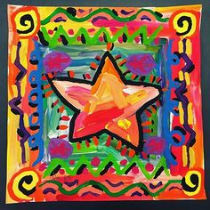 3rd Grade Peter Max Stars DONE! Can't wait to hang these! Great job Miss Andrews! #petermax #painting #painter #art #arted #paintbrushrocket #primaryart #studentart #tempera #blickartmaterials #blickpremiumtempera #cosmicart #warmandcool