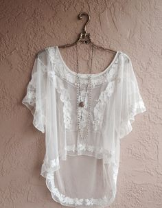 Sheer white lace maxi dress with embroidered design by BohoAngels