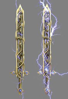 kekai kotaki - Guild Wars 2 Legendary Weapons I designed Fantasy Sword, Fantasy Weapons, Fantasy Warrior, Fantasy Art, Woman Warrior, Armor Concept, Weapon Concept Art, Dragon Sword, Cool Swords