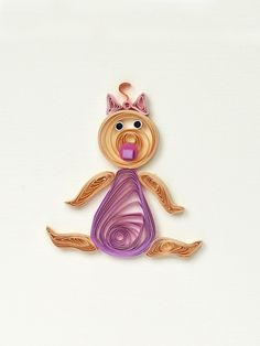 Welcome little one Baby Card quilled Grirl pink  by szalonaisa, $8.00