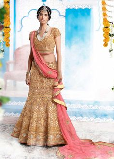 Bridal Lengha In Turkey Silk with heavy embroidered