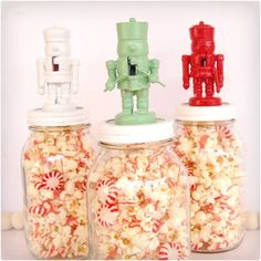 To make your own Nutcracker Jar Toppers you'll need: several mini nutcrackers (found at hobby lobby) spray paint in red, mint, and white hot glue ball jars treats to place inside Mason Jar Christmas Decorations, Mason Jar Christmas Gifts, Mason Jar Gifts, Homemade Christmas Gifts, Mason Jar Diy, Christmas Fun, Nutcracker Christmas, Christmas Baking, Christmas Presents
