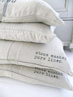 Stone-washed pure linen -- sofa slipcovers for the bungalow Linen Pillows, Linen Fabric, Linen Bedding, Bed Pillows, Cushions, Bed Linens, Linen Cloth, Linen Sofa, Cotton Linen