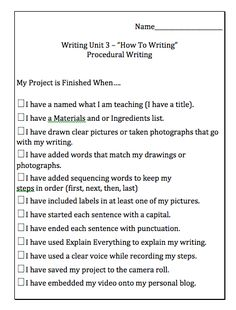 Procedural Writing Unit~ Mrs. Wideen's Classroom Blog