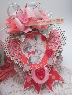 retro dog valentine ornament-MY little SWEETIE pie-valentine decoration tag