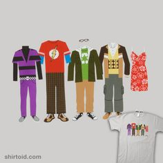 The Big Bang Theory Outfits    This Big Bang Theory Shirt features clothes that have been worn by Howard, Sheldon, Leonard, Raj and Penny.
