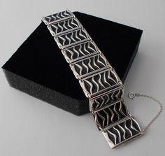 "David Andersen Sterling Silver Bracelet Black Enamel Wave 17.5 cm - 6.9""  Norway #DavidAndersen #Bangle"