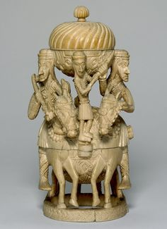 """Salt was a prized commodity and this ivory salt container known as a """"salt cellar"""" fashioned by by a Benin sculptor is fittingly impressive."""