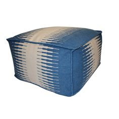 Blue/ White Connections Outdoor Pouf Ottoman | Overstock.com Shopping - The Best Prices on Other Patio Furniture