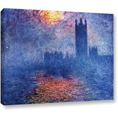 Claude Monet Houses Of Parliament Wrapped Canvas, Size: 24 x 32, Multicolor