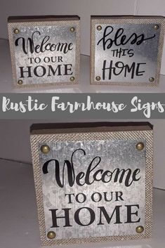 Farmhouse Rustic Signs Welcome To Our Home Bless This Home Wall Art Decor Farmhouse Wall Decor, Farmhouse Signs, Farmhouse Furniture, Rustic Farmhouse, Country Decor, Farmhouse Style, Diy Wood Signs, Pallet Signs, Rustic Signs