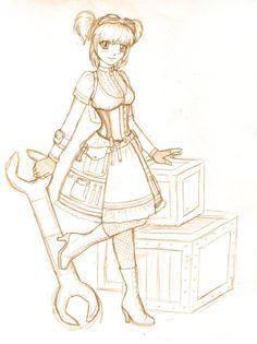 Steampunk Lolita Sketch by JadeDragon480