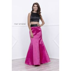 Two Piece Crop Top with a Fuchsia Bustle Skirt